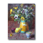 Pansies and Pear by Johanna Spinks